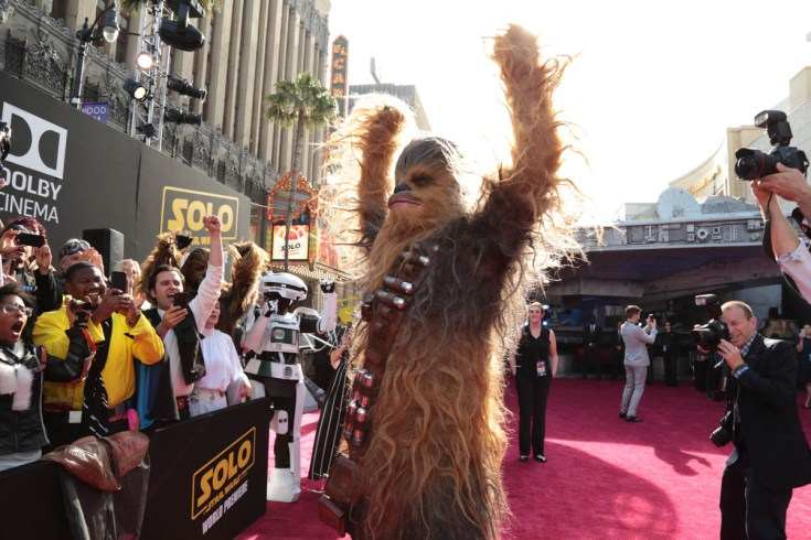 "attend the world premiere of ""Solo: A Star Wars Story"" in Hollywood on May 10, 2018. (Photo: Alex J. Berliner/ABImages)"