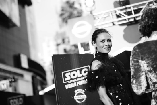 HOLLYWOOD, CA - MAY 10: (EDITORS NOTE: This image has been shot in black and white. Color version not available) Actor Thandie Newton attends the world premiere of ìSolo: A Star Wars Storyî in Hollywood on May 10, 2018. (Photo by Charley Gallay/Getty Images for Disney) *** Local Caption *** Thandie Newton