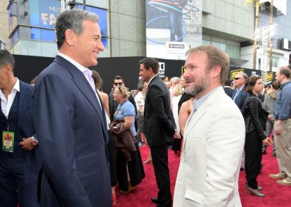 HOLLYWOOD, CA - MAY 10: The Walt Disney Company Chairman and CEO Bob Iger (L) and director Rian Johnson attend the world premiere of ìSolo: A Star Wars Storyî in Hollywood on May 10, 2018. (Photo by Charley Gallay/Getty Images for Disney) *** Local Caption *** Bob Iger; Rian Johnson