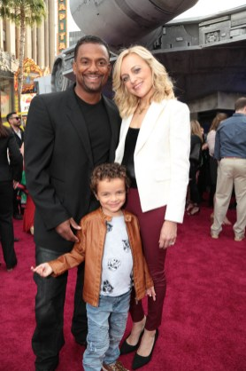 """Alfonso Ribeiro, Angela Unkrich and AJ Ribeiro attend the world premiere of """"Solo: A Star Wars Story"""" in Hollywood on May 10, 2018. (Photo: Alex J. Berliner/ABImages)"""