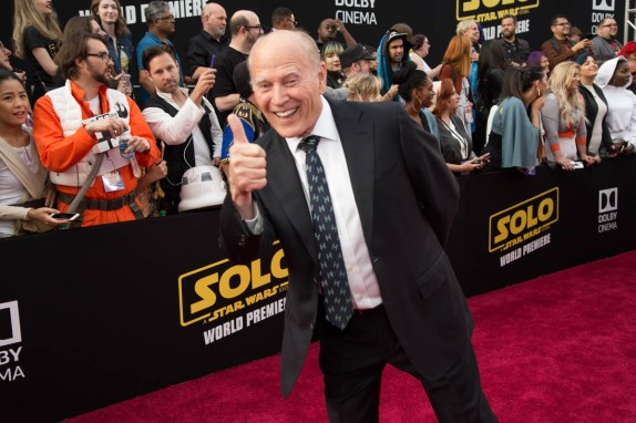 "Frank Marshall attends the world premiere of ""Solo: A Star Wars Story"" in Hollywood on May 10, 2018..(Photo: Alex J. Berliner/ABImages)."
