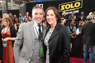 """Ricky Strauss and Kathleen Kennedy attend the world premiere of """"Solo: A Star Wars Story"""" in Hollywood on May 10, 2018. (Photo: Alex J. Berliner/ABImages)"""