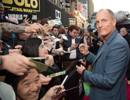 "Woody Harrelson attends the world premiere of ""Solo: A Star Wars Story"" in Hollywood on May 10, 2018..(Photo: Alex J. Berliner/ABImages)."