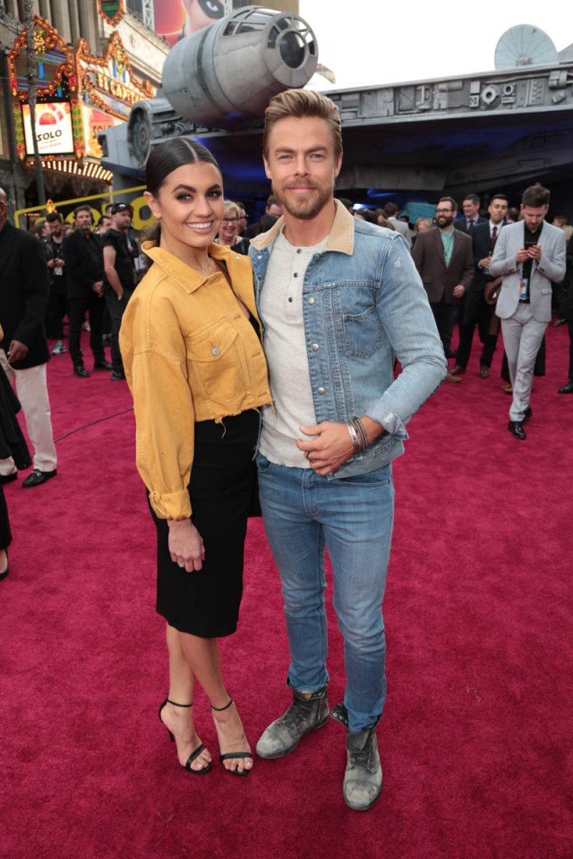 """Hayley Erbert and Derek Hough attend the world premiere of """"Solo: A Star Wars Story"""" in Hollywood on May 10, 2018. (Photo: Alex J. Berliner/ABImages)"""