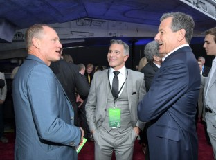 HOLLYWOOD, CA - MAY 10: (L-R) Actor Woody Harrelson, President, Marketing, The Walt Disney Studios, Ricky Strauss, and The Walt Disney Company Chairman and CEO Bob Iger attend the world premiere of ìSolo: A Star Wars Storyî in Hollywood on May 10, 2018. (Photo by Charley Gallay/Getty Images for Disney) *** Local Caption *** Bob Iger; Ricky Strauss; Woody Harrelson