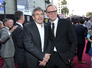 HOLLYWOOD, CA - MAY 10: Chairman, The Walt Disney Studios, Alan Horn (L) and actor Paul Bettany attend the world premiere of ìSolo: A Star Wars Storyî in Hollywood on May 10, 2018. (Photo by Charley Gallay/Getty Images for Disney) *** Local Caption *** Paul Bettany; Alan Horn