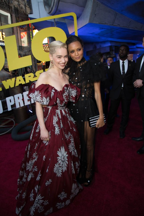 """Emilia Clarke and Thandie Newton attend the world premiere of """"Solo: A Star Wars Story"""" in Hollywood on May 10, 2018..(Photo: Alex J. Berliner/ABImages)."""