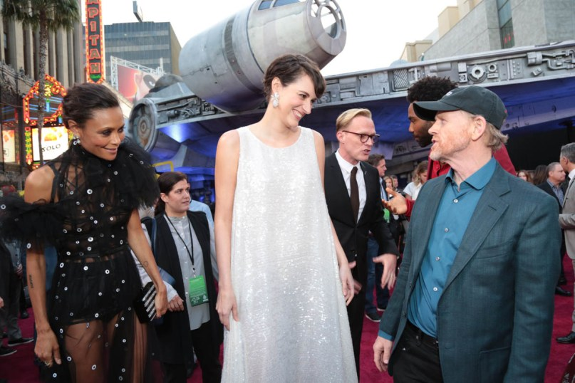 """Thandie Newton, Phoebe Waller-Bridge, Paul Bettany and Ron Howard attend the world premiere of """"Solo: A Star Wars Story"""" in Hollywood on May 10, 2018. (Photo: Alex J. Berliner/ABImages)"""