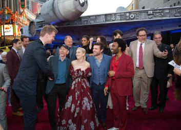 "Joonas Suotamo, Ron Howard, Emilia Clarke, Alden Enrenreich, Donald Glover and Jon Favreau attend the world premiere of ""Solo: A Star Wars Story"" in Hollywood on May 10, 2018..(Photo: Alex J. Berliner/ABImages)."