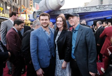 HOLLYWOOD, CA - MAY 10: (L-R) Actor Alden Ehrenreich, Producer Kathleen Kennedy, and Director Ron Howard attend the world premiere of ìSolo: A Star Wars Storyî in Hollywood on May 10, 2018. (Photo by Alberto E. Rodriguez/Getty Images for Disney) *** Local Caption *** Alden Ehrenreich; Ron Howard; Kathleen Kennedy
