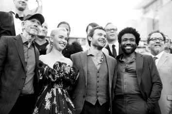 HOLLYWOOD, CA - MAY 10: (EDITORS NOTE: Image has been shot in black and white. Color version not available.) (L-R) Director Ron Howard, and actors Emilia Clarke, Alden Ehrenreich, Donald Glover, and Jon Favreau attend the world premiere of ìSolo: A Star Wars Storyî in Hollywood on May 10, 2018. (Photo by Charley Gallay/Getty Images for Disney) *** Local Caption *** Ron Howard; Emilia Clarke; Jon Favreau; Alden Ehrenreich; Donald Glover