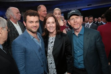 """Alden Enrenreich, Kathleen Kennedy and Ron Howard attend the world premiere of """"Solo: A Star Wars Story"""" in Hollywood on May 10, 2018. (Photo: Alex J. Berliner/ABImages)"""
