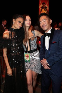 "Thandie Newton, Angela Sarafyan and Leonardo Nam pose together at the after party during the world premiere of ""Solo: A Star Wars Story"" in Hollywood on May 10, 2018. (Photo: Alex J. Berliner/ABImages)"