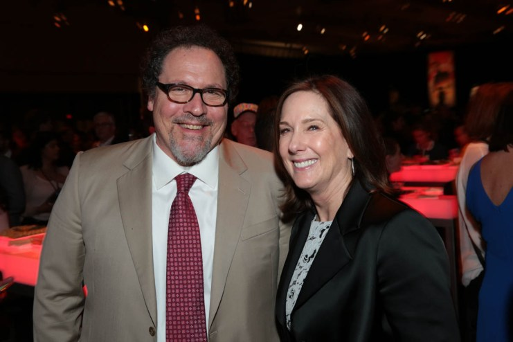 "Jon Favreau and Kathleen Kennedy pose together at the after party during the world premiere of ""Solo: A Star Wars Story"" in Hollywood on May 10, 2018. (Photo: Alex J. Berliner/ABImages)"