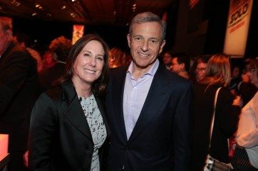 """Kathleen Kennedy and Bob Iger pose together during the after party at the world premiere of """"Solo: A Star Wars Story"""" in Hollywood on May 10, 2018. (Photo: Alex J. Berliner/ABImages)"""