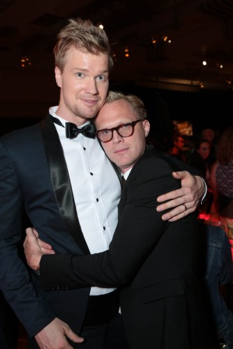 "Joonas Suotamo and Paul Bettany pose together during the after party at the world premiere of ""Solo: A Star Wars Story"" in Hollywood on May 10, 2018. (Photo: Alex J. Berliner/ABImages)"
