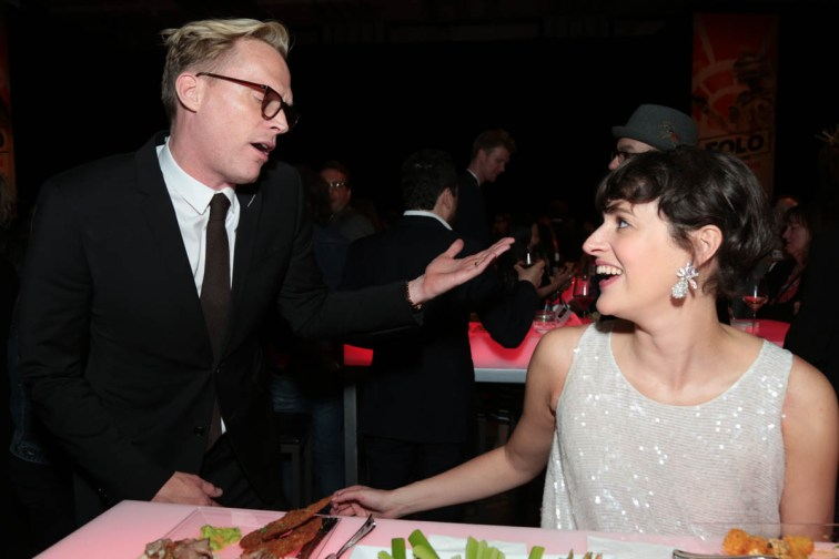 "Paul Bettany chats with Phoebe Waller-Bridge at the after party during the world premiere of ""Solo: A Star Wars Story"" in Hollywood on May 10, 2018. (Photo: Alex J. Berliner/ABImages)"