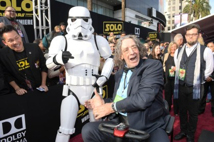 HOLLYWOOD, CA - MAY 10: Actor Peter Mayhew attends the world premiere of ìSolo: A Star Wars Storyî in Hollywood on May 10, 2018. (Photo by Charley Gallay/Getty Images for Disney) *** Local Caption *** Peter Mayhew