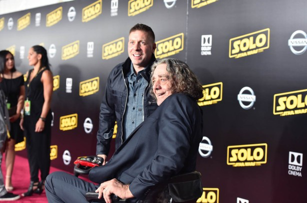 HOLLYWOOD, CA - MAY 10: Actors Ray Park (L) and Peter Mayhew attend the world premiere of ìSolo: A Star Wars Storyî in Hollywood on May 10, 2018. (Photo by Alberto E. Rodriguez/Getty Images for Disney) *** Local Caption *** Peter Mayhew; Ray Park