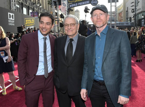 HOLLYWOOD, CA - MAY 10: (L-R) Writers Jonathan Kasdan, Lawrence Kasdan, and Director Ron Howard attend the world premiere of ìSolo: A Star Wars Storyî in Hollywood on May 10, 2018. (Photo by Charley Gallay/Getty Images for Disney) *** Local Caption *** Jonathan Kasdan; Lawrence Kasdan; Ron Howard