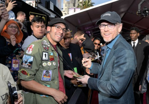 HOLLYWOOD, CA - MAY 10: Director Ron Howard (R) attends the world premiere of ìSolo: A Star Wars Storyî in Hollywood on May 10, 2018. (Photo by Charley Gallay/Getty Images for Disney) *** Local Caption *** Ron Howard