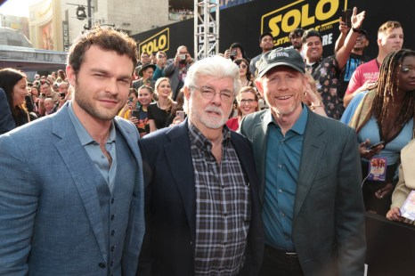 """Alden Ehrenreich, George Lucas and Ron Howard attends the world premiere of """"Solo: A Star Wars Story"""" in Hollywood on May 10, 2018. (Photo: Alex J. Berliner/ABImages)"""