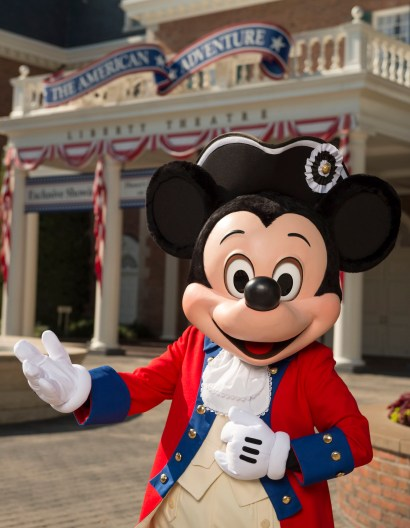 Mickey Mouse dresses in his patriotic best to celebrate the Fourth of July at Walt Disney World Resort. Mickey, along with Goofy and Donald Duck, appear for meet and greets at the American Adventure at Epcot for the holiday. (David Roark, photographer)