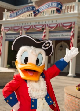 Donald Duck dresses in his patriotic best to celebrate the Fourth of July at Walt Disney World Resort. Donald, along with Mickey Mouse and Goofy, appear for meet and greets at the American Adventure at Epcot for the holiday. (David Roark, photographer)