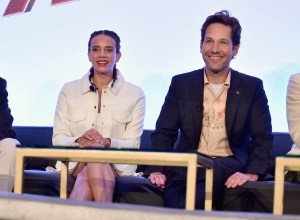 "LOS ANGELES, CA - JUNE 24: Hannah John-Kamen and Paul Rudd speak onstage at Marvel Studios' ""Ant-Man And The Wasp"" Global Junket Press Conference on June 24, 2018 in Los Angeles, United States. (Photo by Alberto E. Rodriguez/Getty Images for Disney) *** Local Caption *** Hannah John-Kamen; Paul Rudd"