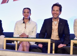 """LOS ANGELES, CA - JUNE 24: Hannah John-Kamen and Paul Rudd speak onstage at Marvel Studios' """"Ant-Man And The Wasp"""" Global Junket Press Conference on June 24, 2018 in Los Angeles, United States. (Photo by Alberto E. Rodriguez/Getty Images for Disney) *** Local Caption *** Hannah John-Kamen; Paul Rudd"""
