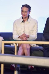 """LOS ANGELES, CA - JUNE 24: Hannah John-Kamen speaks onstage at Marvel Studios' """"Ant-Man And The Wasp"""" Global Junket Press Conference on June 24, 2018 in Los Angeles, United States. (Photo by Alberto E. Rodriguez/Getty Images for Disney) *** Local Caption *** Hannah John-Kamen"""