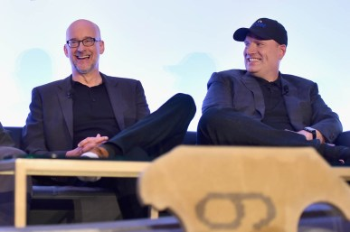 "LOS ANGELES, CA - JUNE 24: Peyton Reed and Marvel Studios President Kevin Feige speak onstage at Marvel Studios' ""Ant-Man And The Wasp"" Global Junket Press Conference on June 24, 2018 in Los Angeles, United States. (Photo by Alberto E. Rodriguez/Getty Images for Disney) *** Local Caption *** Peyton Reed; Kevin Feige"