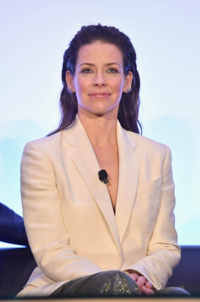 """LOS ANGELES, CA - JUNE 24: Evangeline Lilly speaks onstage at Marvel Studios' """"Ant-Man And The Wasp"""" Global Junket Press Conference on June 24, 2018 in Los Angeles, United States. (Photo by Alberto E. Rodriguez/Getty Images for Disney) *** Local Caption *** Evangeline Lilly"""