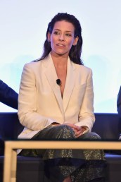 "LOS ANGELES, CA - JUNE 24: Evangeline Lilly speaks onstage at Marvel Studios' ""Ant-Man And The Wasp"" Global Junket Press Conference on June 24, 2018 in Los Angeles, United States. (Photo by Alberto E. Rodriguez/Getty Images for Disney) *** Local Caption *** Evangeline Lilly"