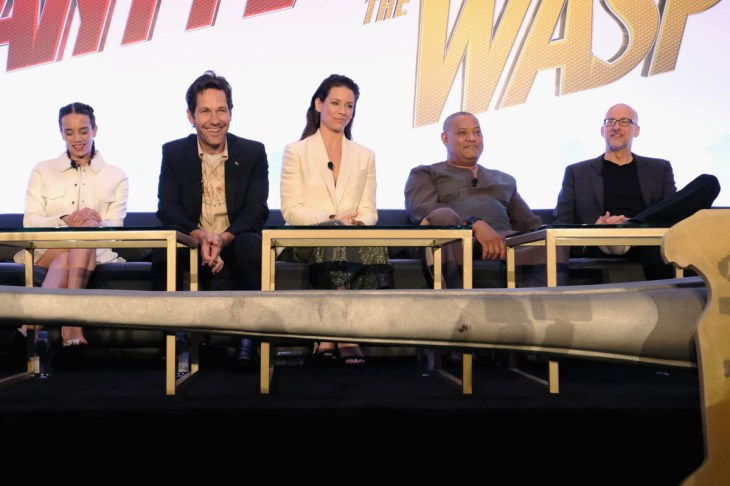 "LOS ANGELES, CA - JUNE 24: (L-R) Hannah John-Kamen, Paul Rudd, Evangeline Lilly, Laurence Fishburne and Peyton Reed speak onstage at Marvel Studios' ""Ant-Man And The Wasp"" Global Junket Press Conference on June 24, 2018 in Los Angeles, United States. (Photo by Alberto E. Rodriguez/Getty Images for Disney) *** Local Caption *** Evangeline Lilly; Paul Rudd; Hannah John-Kamen; Laurence Fishburne; Peyton Reed"