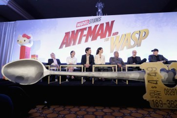 "LOS ANGELES, CA - JUNE 24: (L-R) Michael Douglas, Hannah John-Kamen, Paul Rudd, Evangeline Lilly, Laurence Fishburne, Peyton Reed and Marvel Studios President Kevin Feige speak onstage at Marvel Studios' ""Ant-Man And The Wasp"" Global Junket Press Conference on June 24, 2018 in Los Angeles, United States. (Photo by Alberto E. Rodriguez/Getty Images for Disney) *** Local Caption *** Evangeline Lilly; Paul Rudd; Hannah John-Kamen; Michael Douglas; Laurence Fishburne; Peyton Reed; Kevin Feige"