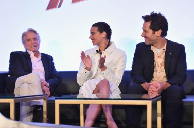 "LOS ANGELES, CA - JUNE 24: (L-R) Michael Douglas, Hannah John-Kamen and Paul Rudd speak onstage at Marvel Studios' ""Ant-Man And The Wasp"" Global Junket Press Conference on June 24, 2018 in Los Angeles, United States. (Photo by Alberto E. Rodriguez/Getty Images for Disney) *** Local Caption *** Paul Rudd; Hannah John-Kamen; Michael Douglas"