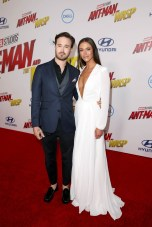 """HOLLYWOOD, CA - JUNE 25: Screenwriter Gabriel Ferrari (L) and guest attend the Los Angeles Global Premiere for Marvel Studios' """"Ant-Man And The Wasp"""" at the El Capitan Theatre on June 25, 2018 in Hollywood, California. (Photo by Jesse Grant/Getty Images for Disney) *** Local Caption *** Gabriel Ferrari"""