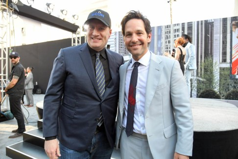 """HOLLYWOOD, CA - JUNE 25: Producer Kevin Feige (L) and Actor Paul Rudd attend the Los Angeles Global Premiere for Marvel Studios' """"Ant-Man And The Wasp"""" at the El Capitan Theatre on June 25, 2018 in Hollywood, California. (Photo by Charley Gallay/Getty Images for Disney) *** Local Caption *** Kevin Feige; Paul Rudd"""