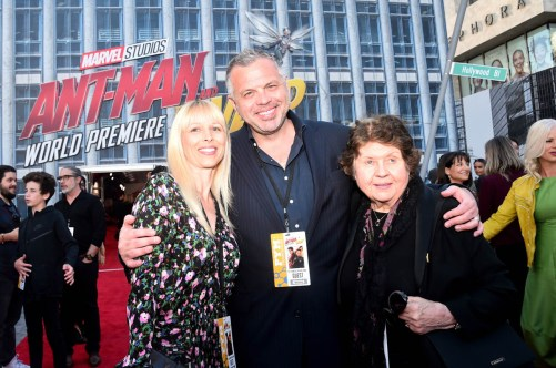 """HOLLYWOOD, CA - JUNE 25: Screenwriter Chris McKenna (C) and guests attend the Los Angeles Global Premiere for Marvel Studios' """"Ant-Man And The Wasp"""" at the El Capitan Theatre on June 25, 2018 in Hollywood, California. (Photo by Alberto E. Rodriguez/Getty Images for Disney) *** Local Caption *** Chris McKenna"""