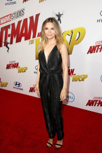 "HOLLYWOOD, CA - JUNE 25: Actor Michelle Pfeiffer attends the Los Angeles Global Premiere for Marvel Studios' ""Ant-Man And The Wasp"" at the El Capitan Theatre on June 25, 2018 in Hollywood, California. (Photo by Jesse Grant/Getty Images for Disney) *** Local Caption *** Michelle Pfeiffer"