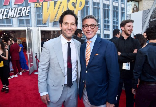 """HOLLYWOOD, CA - JUNE 25: Actor Paul Rudd (L) and President, Marketing, The Walt Disney Studios, Ricky Strauss attend the Los Angeles Global Premiere for Marvel Studios' """"Ant-Man And The Wasp"""" at the El Capitan Theatre on June 25, 2018 in Hollywood, California. (Photo by Alberto E. Rodriguez/Getty Images for Disney) *** Local Caption *** Paul Rudd; Ricky Strauss"""