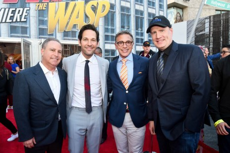 "HOLLYWOOD, CA - JUNE 25: (L-R) Walt Disney Studios President, Alan Bergman, actor Paul Rudd, President, Marketing, The Walt Disney Studios, Ricky Strauss and Producer Kevin Feige attend the Los Angeles Global Premiere for Marvel Studios' ""Ant-Man And The Wasp"" at the El Capitan Theatre on June 25, 2018 in Hollywood, California. (Photo by Alberto E. Rodriguez/Getty Images for Disney) *** Local Caption *** Alan Bergman; Paul Rudd; Ricky Strauss; Kevin Feige"