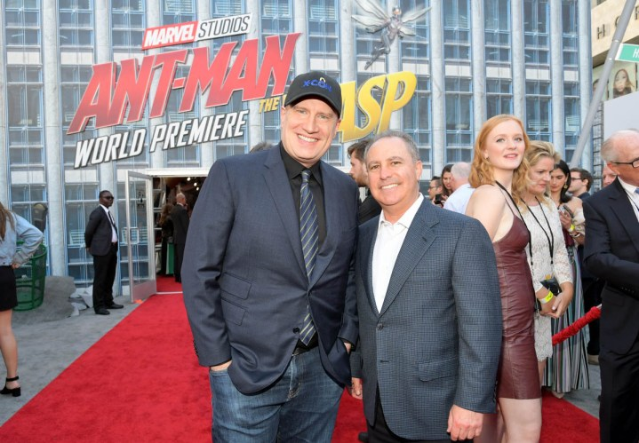 "HOLLYWOOD, CA - JUNE 25: Producer Kevin Feige (L) and Walt Disney Studios President Alan Bergman attend the Los Angeles Global Premiere for Marvel Studios' ""Ant-Man And The Wasp"" at the El Capitan Theatre on June 25, 2018 in Hollywood, California. (Photo by Charley Gallay/Getty Images for Disney) *** Local Caption *** Kevin Feige; Alan Bergman"