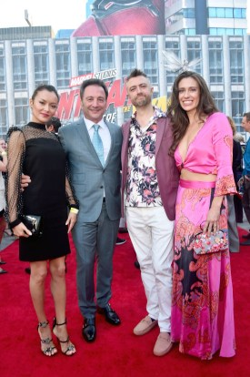 """HOLLYWOOD, CA - JUNE 25: (2nd from L-R) Executive Producer Louis D'Esposito, Sean Gunn, and Natasha Halevi attend the Los Angeles Global Premiere for Marvel Studios' """"Ant-Man And The Wasp"""" at the El Capitan Theatre on June 25, 2018 in Hollywood, California. (Photo by Alberto E. Rodriguez/Getty Images for Disney) *** Local Caption *** Natasha Halevi; Sean Gunn; Louis D'Esposito"""