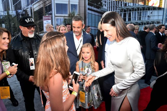 "HOLLYWOOD, CA - JUNE 25: Actor Evangeline Lilly (R) and guests attend the Los Angeles Global Premiere for Marvel Studios' ""Ant-Man And The Wasp"" at the El Capitan Theatre on June 25, 2018 in Hollywood, California. (Photo by Alberto E. Rodriguez/Getty Images for Disney) *** Local Caption *** Evangeline Lilly"