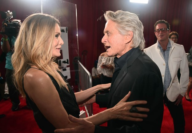 """HOLLYWOOD, CA - JUNE 25: Actors Michelle Pfeiffer (L) and Michael Douglas attend the Los Angeles Global Premiere for Marvel Studios' """"Ant-Man And The Wasp"""" at the El Capitan Theatre on June 25, 2018 in Hollywood, California. (Photo by Alberto E. Rodriguez/Getty Images for Disney) *** Local Caption *** Michelle Pfeiffer; Michael Douglas"""