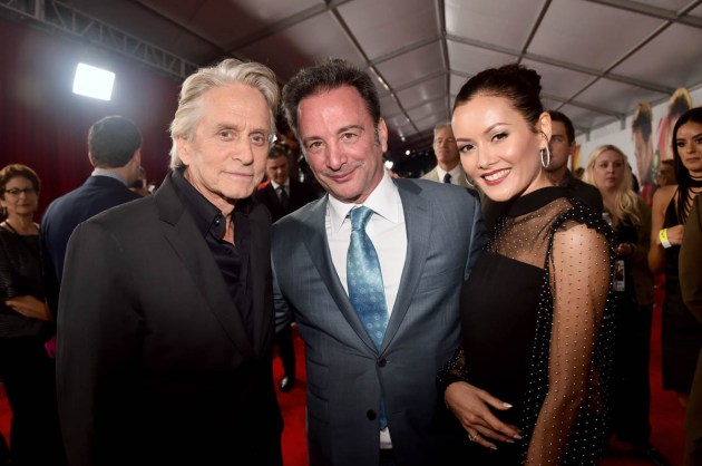 """HOLLYWOOD, CA - JUNE 25: Actor Michael Douglas (L) and Executive Producer Louis D'Esposito (C) attend the Los Angeles Global Premiere for Marvel Studios' """"Ant-Man And The Wasp"""" at the El Capitan Theatre on June 25, 2018 in Hollywood, California. (Photo by Alberto E. Rodriguez/Getty Images for Disney) *** Local Caption *** Louis D'Esposito; Michael Douglas"""