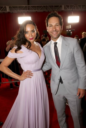 "HOLLYWOOD, CA - JUNE 25: Actors Hannah John-Kamen (L) and Paul Rudd attend the Los Angeles Global Premiere for Marvel Studios' ""Ant-Man And The Wasp"" at the El Capitan Theatre on June 25, 2018 in Hollywood, California. (Photo by Jesse Grant/Getty Images for Disney) *** Local Caption *** Hannah John-Kamen; Paul Rudd"