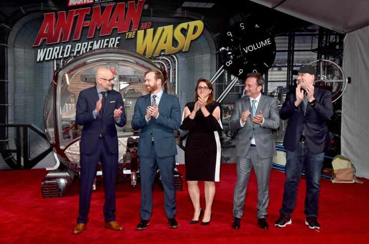 "HOLLYWOOD, CA - JUNE 25: (L-R) Director Peyton Reed, Producer Stephen Broussard, Executive Producer Victoria Alonso, Executive Producer Louis D'Esposito, and Producer Kevin Feige attend the Los Angeles Global Premiere for Marvel Studios' ""Ant-Man And The Wasp"" at the El Capitan Theatre on June 25, 2018 in Hollywood, California. (Photo by Alberto E. Rodriguez/Getty Images for Disney) *** Local Caption *** Peyton Reed; Stephen Broussard; Victoria Alonso; Louis D'Esposito; Kevin Feige"